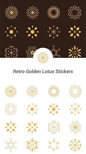 Retro Golden Lotus Stickers