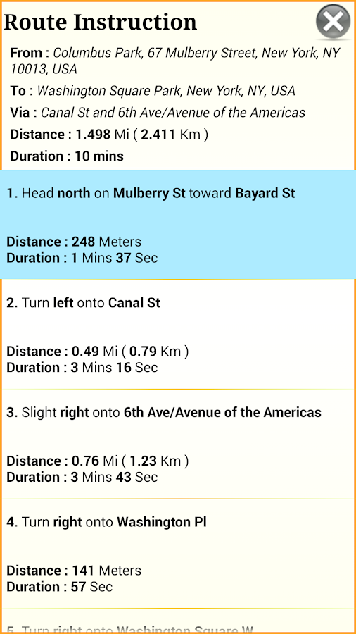 GPS Driving Route - screenshot