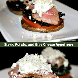 Steak, Potato and Blue Cheese Appetizers.