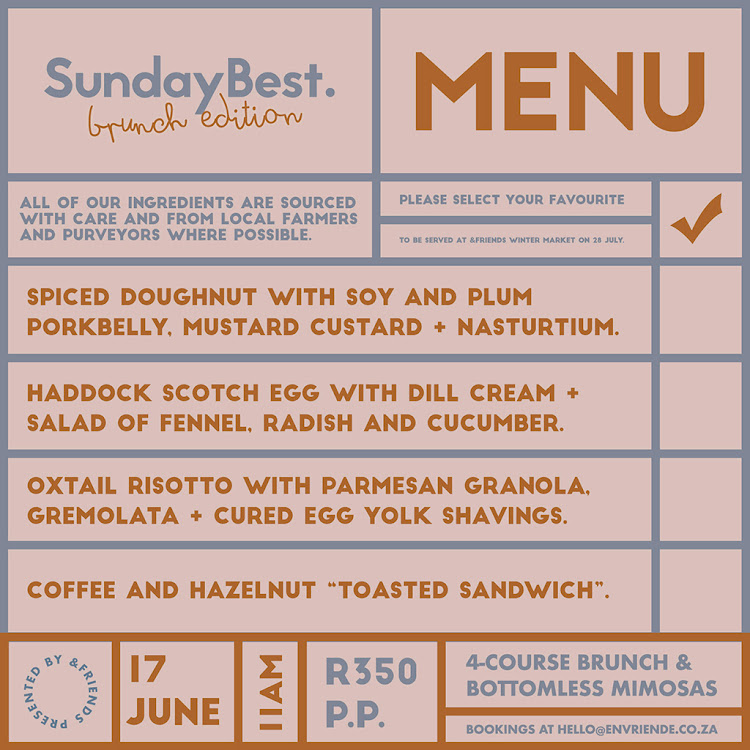 Sunday Best Menu