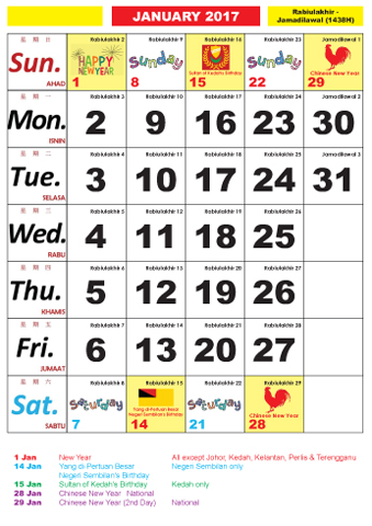 Calendar Malaysia 2017-