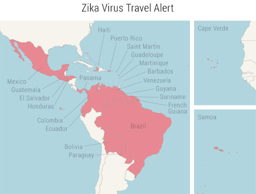 A map of destinations affected by the spread of the Zika virus.