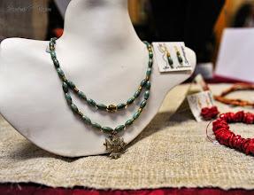 Photo: <BEREHYNYA> {Great Goddess Protectress} unique one-of-a-kind statement jewellery by Luba Bilash ART & ADORNMENT  # 118 KOSMACH/КОСМАЧ - brass Hutsul cross, aventurine, brass beads, 14K gold vermeil $140/set SOLD