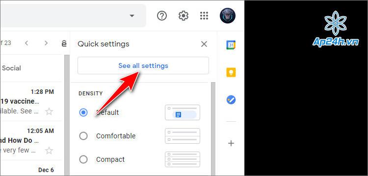 Chọn tất cả cài đặt trong Gmail