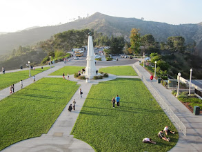 Photo: View north from the observatory roof toward 1625-foot Mt. Hollywood. The huge new addition to the observatory lies beneath this lawn.