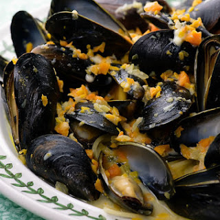 Mussels in Blue Cheese Sauce.