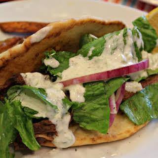Marinated Beef Gyros with Tzatziki Sauce.