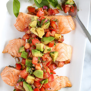 Grilled Salmon with Avocado Bruschetta.
