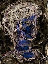 "Photo: Iridescent Blue Face, 21cm x 29cm, 8"" x 11.5"", 2012, Moleskine folio Sketchbook,  mixed media."