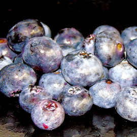 BLUEBERRIES by Wojtylak Maria - Food & Drink Fruits & Vegetables ( tasty, food, fruits, little, round, blueberries, black )