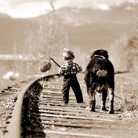 Best Friends by Antonio Lobato - Babies & Children Toddlers ( fall colors, children, child portrait, children candids, child, mountains, best friends, nature, mans best friend, fall, outdoors, childhood, outside,  )
