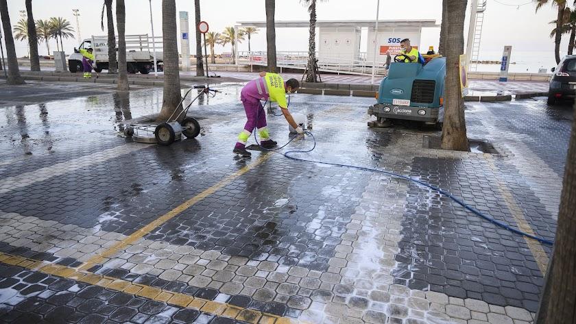 Operarios municipales de limpieza en El Palmeral.