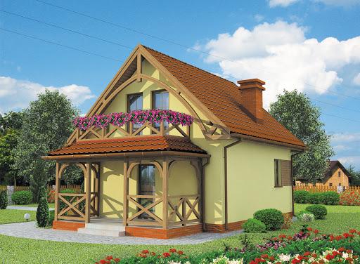 projekt Orlean dom letniskowy z poddaszem szkielet drewniany
