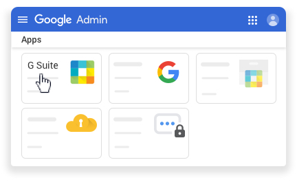 Select G Suite at the top left, under Apps