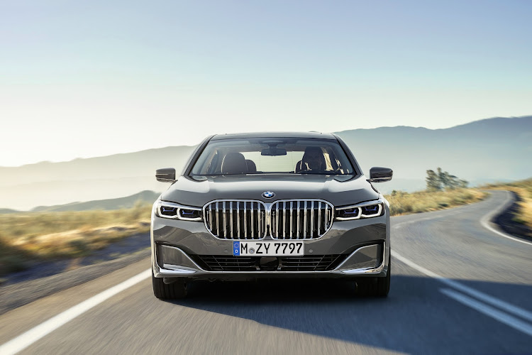 Super-sized grille inspired by the new X7 dominates the front end of facelifted 7 Series. Picture: SUPPLIED