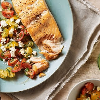 Cedar-Planked Salmon with Tomato, Feta, and Herb Salad.
