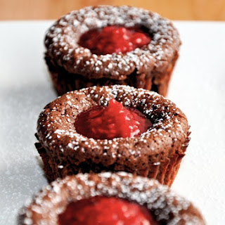 Lava Cakes with Raspberry Sauce