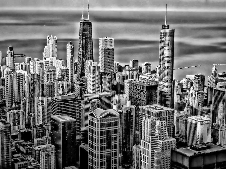 chicago skyline by Jon Radtke - Black & White Landscapes ( chicago skyline,  )