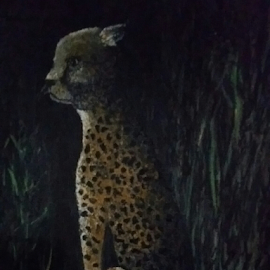 Spotted under Moonlight by Rhonda Lee - Painting All Painting ( leopard, safari, painting, cat, night, rokinronda, silhouette, exotic )