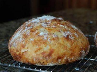 Crusty Bread In A Cast Iron Pot