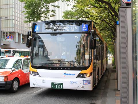 西日本鉄道 福岡都心連節バス 0101 博多駅バス停にて