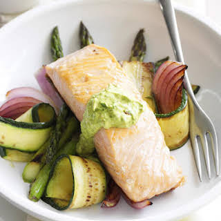 Grilled Salmon with Summer Veggies and Chermoula.