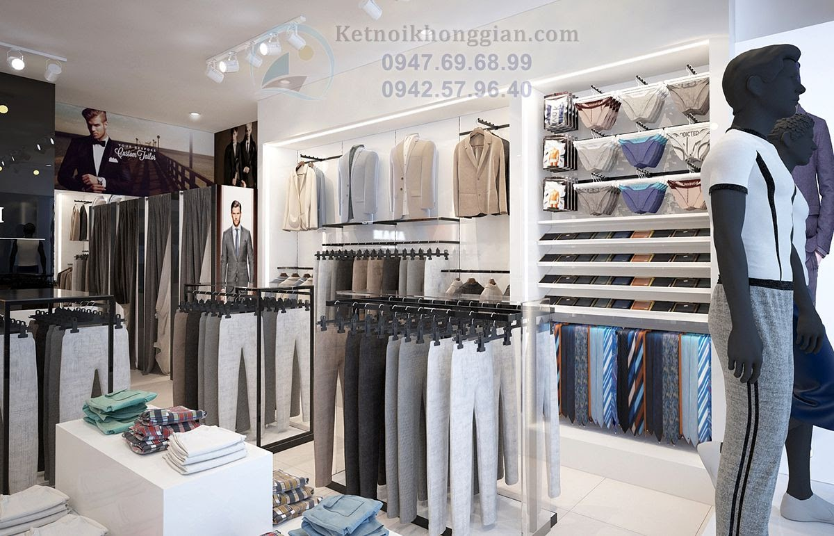 thiết kế nội thất shop thời trang nhiều hình thù