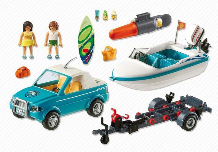 Contenido real de Playmobil® 6864 Pick Up con Lancha