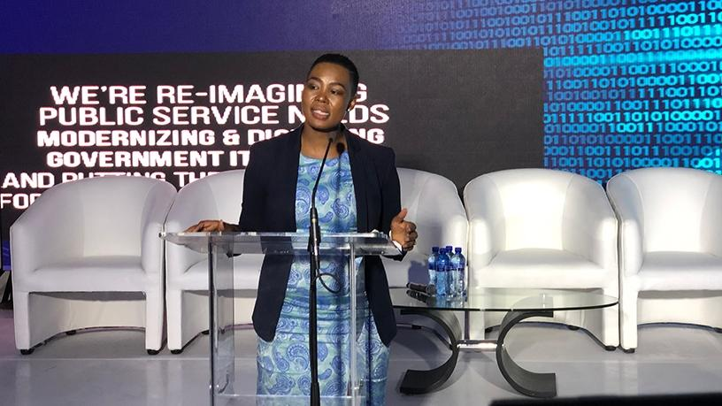 Communications minister Stella Ndabeni-Abrahams speaking at the launch of SITA's private cloud.