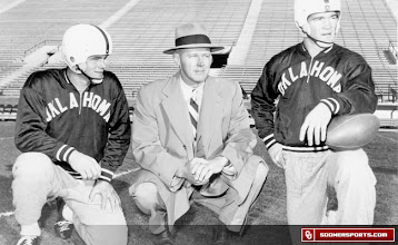 Photo: Wilkinson with Billy Vessels (right), Oklahoma's first Heisman winner in 1952.