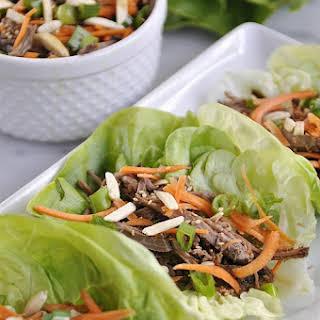 Slow Cooker Korean Beef Lettuce Wraps.