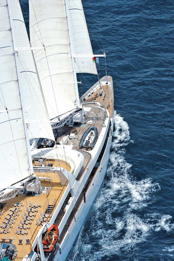 Ponant-general.jpg - An aerial view of the sleek, petite luxury sailing ship Le Ponant.