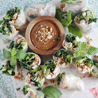 Chicken and Kale Spring Rolls with Peanut Sauce Recipe