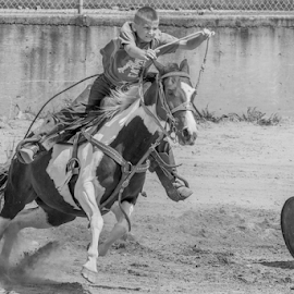 Tipping the last barrel by Joe Saladino - Black & White Sports ( horse, monochrome, barrel racer, rider, sport )