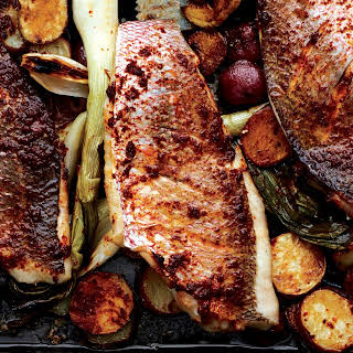 Baked Snapper with Harissa, New Potatoes, and Spring Onions.