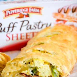Asparagus, Bacon, Egg and Cheese Strudel.