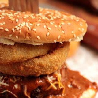 Stacked Onion Ring Chili Cheese Burger #BurgerMonth