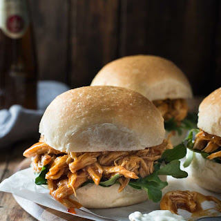 Slow Cooker Honey Buffalo Chicken Sliders.
