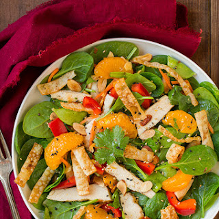 Mandarine Orange Spinach Salad with Chicken and Lemon Honey Ginger Dressing