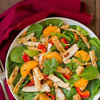 Mandarine Orange Spinach Salad with Chicken and Lemon Honey Ginger Dressing.