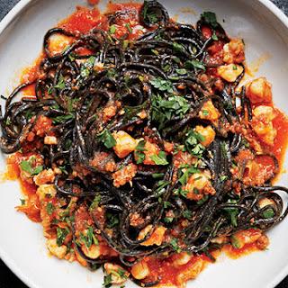 Squid Ink Pasta with Shrimp, Nduja, and Tomato Recipe
