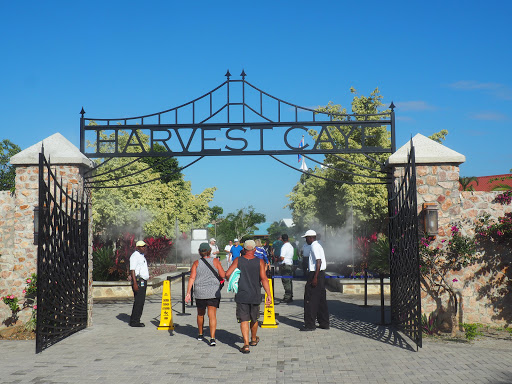 The entrance to Harvest Caye.  Everything was beautifully landscaped and they had mist nozzles at the entrance.