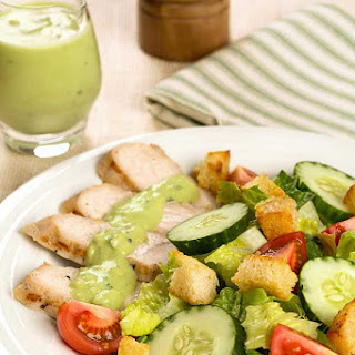 Grilled Turkey Salad with Low-Fat Avocado Dressing.