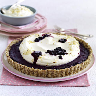 Blueberry Almond Tart with Coconut Whipped Cream