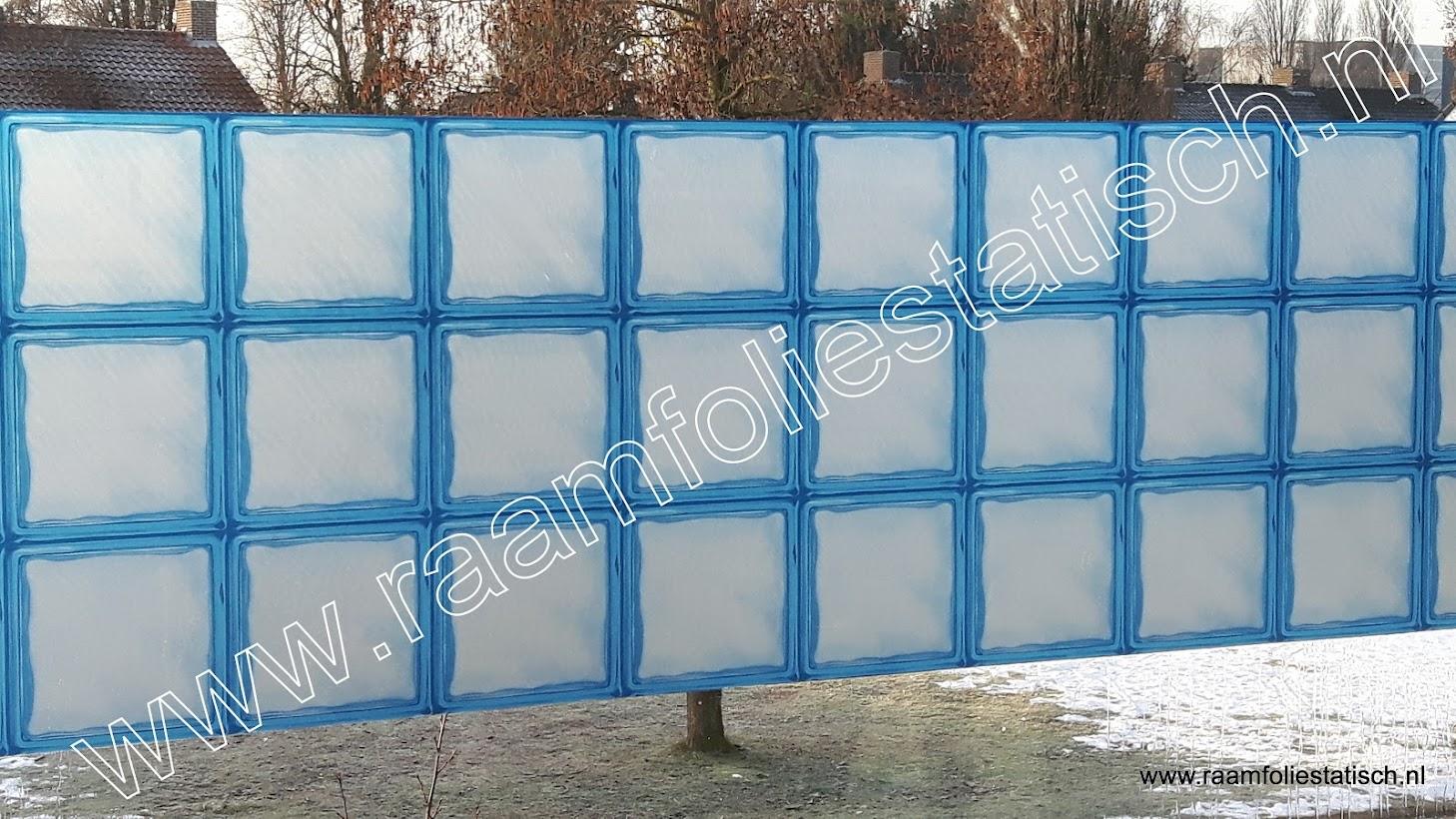 raamfolie raster blauw