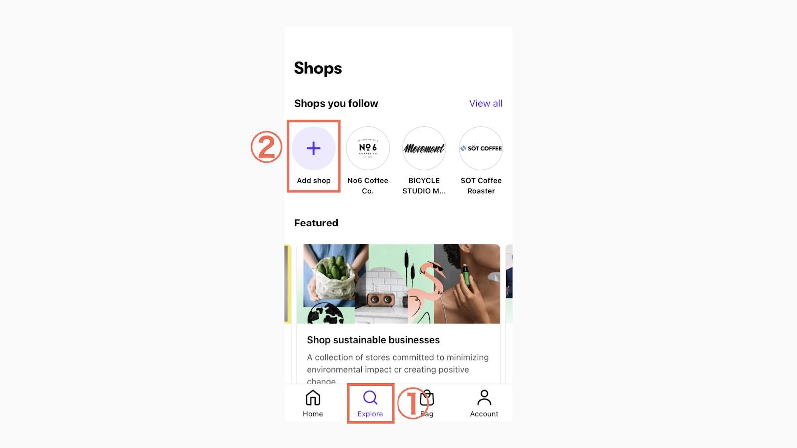 Shop Payの登録が完了したら、「Explore > Add shop」をタップして好みのブランドをフォローします。