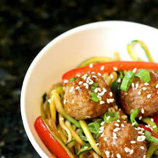 Korean BBQ Meatballs with Zoodles.
