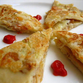 Salty Pancakes with Dried Shrimps and Shredded Cabbage.
