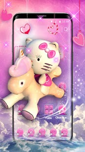 3D pink cute cat theme - náhled
