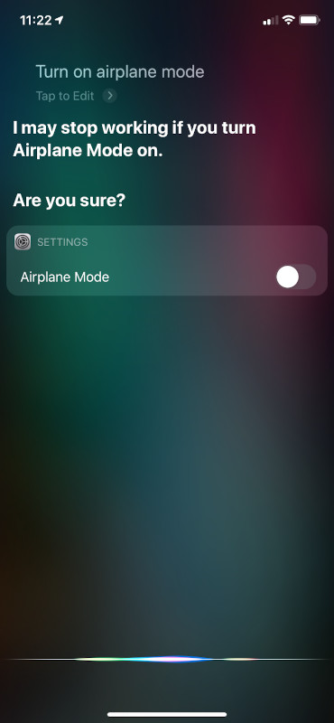 Airplane Mode Siri UI